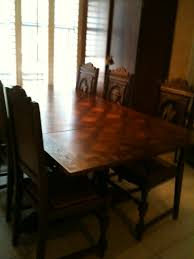 Table With Slide Out Leaves Brittany France Circa 1900 Carved Dining Room Table And Six Chairs