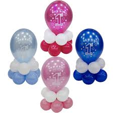 1st birthday boy happy 1st birthday boy girl blue pink balloon party table