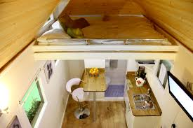 interior modern tiny house design featuring wooden roof covering