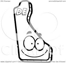 cartoon clipart of an outlined happy delaware state character