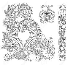 hand drawn abstract henna mehndi black flowers doodle illustration