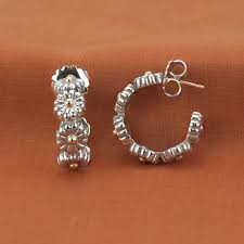 earrings brands lagos sterling silver 18k yellow gold small flower hoop earrings