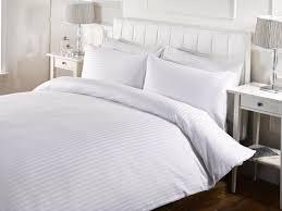 hotel satin stripe duvet set white ponden homes hotel