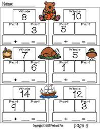part whole number bond thanksgiving theme mats worksheet task cards