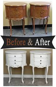 French Provincial Furniture by Antiqued White Oval French Nightstands Before U0026 After