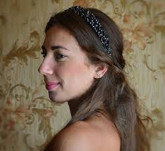 beaded headband black beaded headband with gold crystals bridal crown baroque