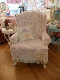shabby chic wingback chair slipcovered with a vintage chenille