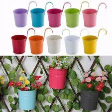 flower hanging pots 10 pcs metal bucket balcony flowers holders