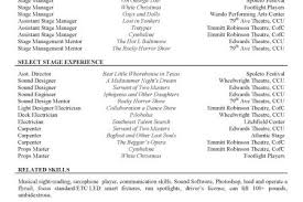 Example Acting Resume by Aj Gardner Theatre Technician Stage Manager Resume Stagehand