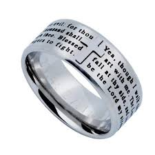 bible verse rings psalm 23 4 jewelry cross ring for men stainless steel