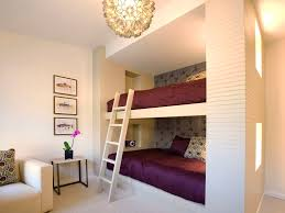 bedroom bunk beds purple bedding shared bedroom guest room wall
