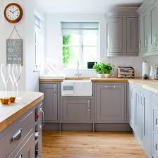 white and wood kitchen cabinets country kitchen with grey painted cabinetry and wooden worktops