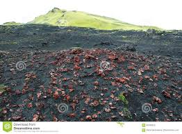 Volcanic Sand Red Volcanic Rocks Pumice Stones On Black Sand And Green Hill