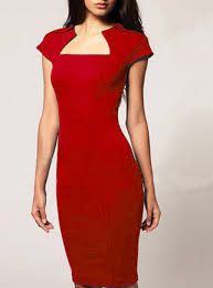 styled red dress cap sleeve knee length elizabethan collar