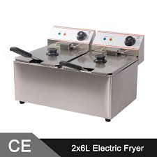 Stainless Steel Bench Top 12l Electric Commercial Deep Fryer Double Tank Double Basket