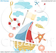 cartoon of nautical design elements royalty free vector clipart