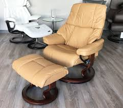 reno paloma pearl leather recliner chair and ottoman by ekornes