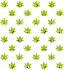 cute plant cartoon smiling cannabis plant seamless pattern cute stylized