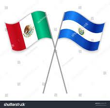 Salvadoran Flag Mexican Salvadoran Crossed Flags Mexico Combined Stock Vector