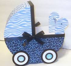 blue safari baby carriage table centerpiece gift box
