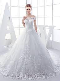 ericdress modest off the shoulder lace wedding dress 11841918