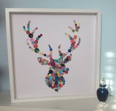 stags head button art button stag wall art house warming