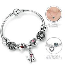 bracelet pandora style images Love actually silver pandora style bracelet bangle combo set with jpg