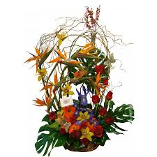 birds of paradise twist tropical flower arrangement event flowers ny