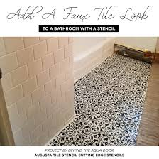 Bathroom Tile Makeover - add a faux tile look to a bathroom with a stencil stencil stories
