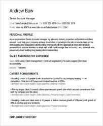 Sales Account Manager Resume Sample Sample Account Manager Resume 9 Examples In Pdf Word