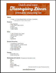 printable grocery shopping list for thanksgiving happy thanksgiving