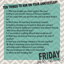 10 questions to ask on your anniversary previous year