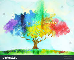 rainbow tree color colorful watercolor painting stock illustration
