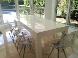White Parsons Dining Table On Sale Modern White Parsons Table And Bench Dining Set High Gloss
