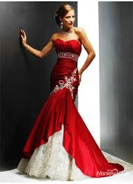 low back bunny strapless mermaid style red wedding dress