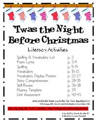 twas the before literacy activities by