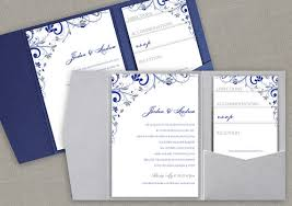 royal blue and silver wedding pocket wedding invitation printable set instant