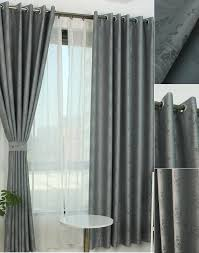 Gray Blackout Curtains Gray Polyester Jacquard Blackout Curtain For Bedroom
