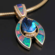opal australia necklace images Australian opal inlay jewelry is our specialty blue topaz jpg