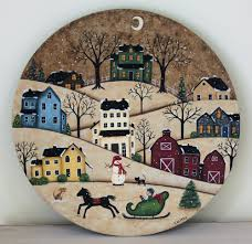 salt box houses winter folk art painting primitive wood plate winter country