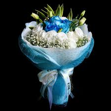 white and blue roses bouquet of blue roses and white eustomas hb65 flowers in mind