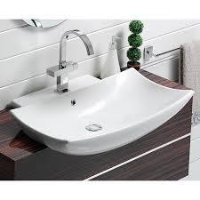 semi recessed bathroom sinks cerastyle 074800 u by nameek s bella b curved rectangular white