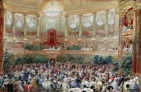 Painting Of Chandelier Dinner In The Salle Des Spectacles At Versailles Painting By