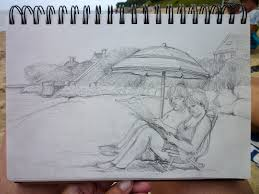 ann gorbett palette knife painting drawing on the beach