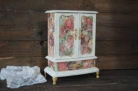 Shabby Chic Jewelry Armoire by Shabby Chic Jewelry Box Music Box Ivory Pink Flowered