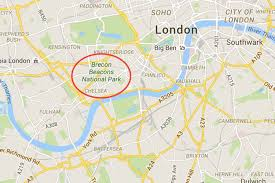 Chelsea Map Google Maps Glitch Puts Brecon Beacons In Central London London