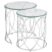 round silver accent table elana silver stainless steel round nesting tables pier 1 imports