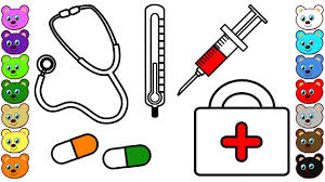 learn colors for kids with medical kit for doctor coloring pages