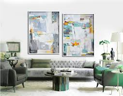 set of 2 large abstract painting canvas art contemporary art