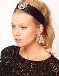 jewelled headband asos satin jewelled headband in black lyst